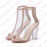 Wholesale Transparent Party Wear Women - Milan fashion crystal transparent thick high heels peep toe PVC transparent shoes women prom party wear 11cm size 35 to 40