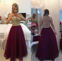 Wholesale Gold Crystal Beading Prom Dresses Burgundy Chiffon A line Sheer Jewel Backless Evening Gowns Custom Made Cheap Special Occasion Dress