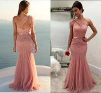 Wholesale Open Back Ball Gowns - ne Shoulder Blush Pink Mermaid Formal Prom Dresses Sparkly Sequins Party Dresses Open Back Evening Gowns