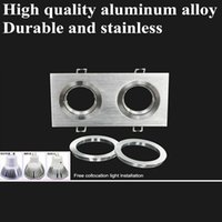 Wholesale Downlight Holders - 8pcs lot high quality aluminum alloy double square grille mr11 mr16 LED spotlight holder, recessed gu5.3 gu10 led downlight mounting bracket