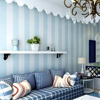 Wholesale Vertical Striped Wallpaper - Wholesale- Cozy Bedroom Non-woven Wallpaper Blue White Striped Wallpaper For Walls Modern Feature Vertical Striped Wallpaper Roll Decor