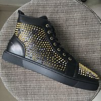 Wholesale Leopard Lace Slip - New Arrival Mens Womens Black Leather With Leopard Small Spikes High Top Red Bottom Sneakers,Brand Casual Shoes 36-46 Drop Shipping