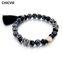 Wholesale Boho Vintage Bracelet - 2016 Vintage Black nature Stones Bracelet For Women Girls Tassel Charm Bracelets & Bangles Gold Boho Love Bead Jewelry SBR150353