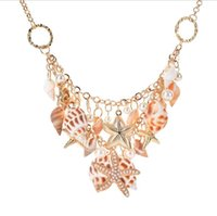 Summer Beach Jewelry Fashion Trend Starfish Sea Shell Pearl Chunky Statement Necklace pour femme Livraison gratuite