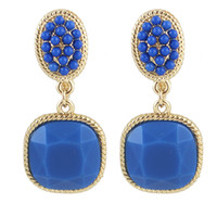 Wholesale Clip Earring Chandelier - Fashion Lovely Candy Color Gold plated Beads Pendent Alloy Clip Earrings for Women