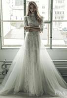 Wholesale Sheath Wedding Dress Detachable Train - detachable train wedding dresses 2017 Ersa Atelier jewel neckline 3 4 sleeve embroidery lace sheath bridal gown