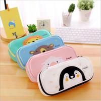 Wholesale Bear Stationery - Kawaii PU Leather Cartoon Bear Lion Goat Penguin Pencil Case School Supplies Stationery