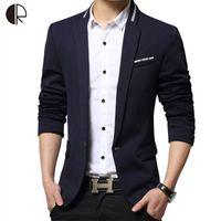 Wholesale Fit Suite - Wholesale- Male Suite 2016 Brand Blazer Men Single Breaster Casual Suit Jacket Men Slim Fit Suits Plus Size Patchwork Coat MB052