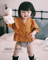 Wholesale Bat Sleeve Girls Shirt - Toddler kids outfits baby girls bat sleeve falbala lapel shirts+plaid shorts 2pcs sets 2017 new Summer infants cute clothes sets C1152