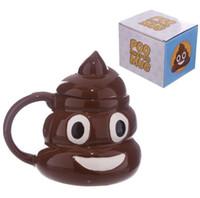 canecas de zakka venda por atacado-Merda Caneca de Cerâmica Criativa Kawaii Emoji Xícara De Chá De Café Porcelana Zakka Novidade Para O Amigo Do Escritório Famílias Presente Copo De Água com tampa