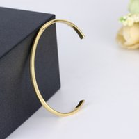 Wholesale Thin Gold Plated Bangles Wholesale - Classics Simple B Real Gold Plated Open Bangles Mens Bracelet bangles Copper cuff Jewelry Minimalist Flat Thin Gold Cuff Pulseiras