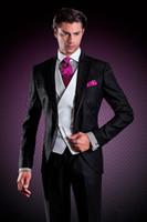 Wholesale Italian Suit 46 - 2017 New Italian Black Tuxedos for wedding mens Suits Jacket+Pants+Vest+Tie custom made groomsmen suits formal suit