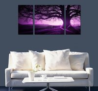 Wholesale Tree Paintings Panel Huge - Framed 3 Panel Huge Modern HD Canvas Print Art Painting Purple Magic Tree,Home Wall Decor High Quality Canvas Multi sizes Free Shipping