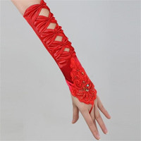 accessories for red dresses NZ - Brand New Sweet Bridal Gloves Elegant Wedding Gloves with Appliqued for Wedding Dress White Ivory Red Romantic Wedding Accessories