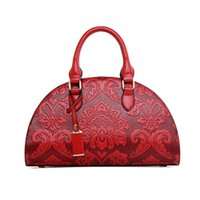 Wholesale Women Handbags Chinese - Wholesale-Brand Designer Woman Embossed Shell Bag Chinese National Style PU Leather Handbag Shoulder Bag Women Red Bag Bag BT0000027