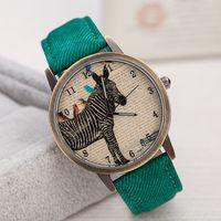 relógios antigos venda por atacado-Frete grátis Novos relógios de denim especial de couro antigo relógios de quartzo homens e mulheres retro lazer relógios