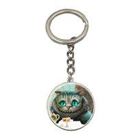 Wholesale Metal Alice - Wholesale Alice In Wonderland Gifts Best Birthday Children Gift Cute Rabbit Glass Picture Silver Keychain Cartoon Key Chain NS85