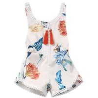 Wholesale Jumpsuit Big Flower - Baby Clothes Baby Girls New Rompers Jumpsuits Sleepsuit Bodysuit Sleeveless Printed Big Flower Jumpsuit Kids Clothing XY28