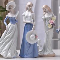ingrosso ornamenti di fata dell'angelo-Bella ragazza europea Regali creativi Resina Angel Ornaments Artificiale Home Decor Miniature Flower Fairy Figurine Decorazione di nozze