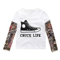 unterseiten jungen, die kinder kleiden großhandel-T-Shirt Langarm-T-Shirt für Mädchen Jungen Bottom Top Kinderkleidung Hip-Hop 2017 Herbst Tattoo Mesh-Hülle Falsche zweiteilige europäischen Großhandel 1-7T