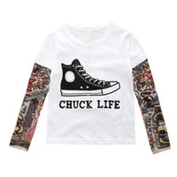 Wholesale long tee shirts for girls for sale - Group buy T shirt Long sleeve Tee for Girl boy Bottom top Kids clothing Hip hop Autumn tattoo Mesh sleeve False two piece European T