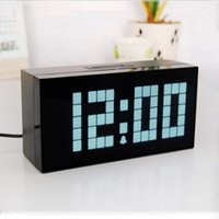 Wholesale Large Display Led Clock - LED Alarm Clock Large Screen Display Electronic Clocks Used For Bedroom Mute Creatively Bell Rectangle Fashion Bells New 95ch A R
