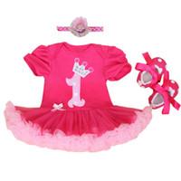 kızlar için sıcak pembe kafa bandı toptan satış-Toptan-Bebek Tulum 3 Adet Bebek Giyim Seti Bebek Kız Sıcak Pembe 1st Doğum Günü Tutu Elbise Jumpersuit Bandı Ayakkabı