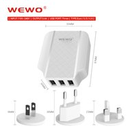 Wholesale Multiple Usb Charger Iphone - WEWO US UK EU Plug 3 USB Wall Charger 3.4A Travel Power Adapter with Multiple USB Charger For Iphone 5S 6S plus samsung S8 edge Charge 2 3