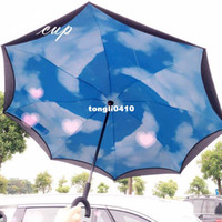 Wholesale Blue Sky Umbrella Clouds - Creative free blue sky, white clouds, double layer reverse umbrella, straight shank, long handle, umbrella, male and female, straight handle