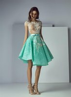 Wholesale Mint Prom Dress Knee Length - Saiid Kobeisy Mint Green Short Prom Dresses 2017 Formal Dresses Lace Applique Sheer Neck See Through Evening Homecoming Gowns Sweet 16 Dress