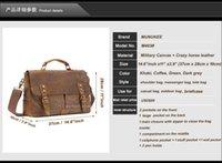 Wholesale Women Leather Attache Case - Vintage Leather + Canvas men briefcase Business bag Portfolio men office bag male canvas briefcase attache case document tote