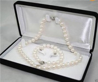 mixed akoya pearls Canada - Natural AAA 7-8MM White Akoya Cultured Pearl Necklace Bracelet Earring Set