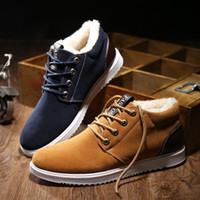 Hot Sales Mens Botines Nubuck Thick Caliente Zapatos Plush Casual Moda Flats Zapatos Lace-Up Cow Muscle Wearable Invierno Nieve Botas Hombre