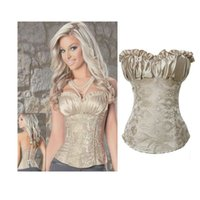 Wholesale Womens Shapers - Womens Corsets Royal Vest Bustier Cream Ivory Color Pattern Body Shapers Lace Up Corset Top