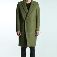 Wholesale Made Windbreaker - Wholesale- Custom made 2017 Men's Green Woolen Trench Coats Slim Fit Brand Fashion British Style Windbreaker Overcoat