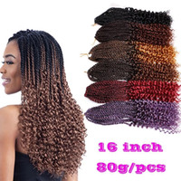 Compra Riccioli Capelli Sintetici-Curl Pre-Twisted Kanekalon Kinky Dreadlocks Crochet capelli Afro Hot 16 pollici Synthetic Twist Trincea estensioni dei capelli Jerry Curly Faux Locs