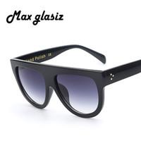 Wholesale Wholesale Sunglasses Italy - Wholesale-2016 New Italy Brand Designer Fashion Women Sunglasses Oversize Female Flat Top Vintage Sun Glasses Eyewear Oculos de sol 41026