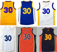 fd1e045c0a9 Retro Basketball Jerseys  30 Yellow Blue basketball Shirts Stephen Curry  Men Clothing Steph Curry Jersey Embroidery Logos With Player Name ...