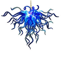 arte azul cobalto al por mayor-Mini dormitorio / cocina Color azul cobalto soplado a mano Art Glass Chandelier Lighting Lámparas colgantes Led