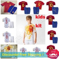 Wholesale Boys Athletic Shorts Xl - kids Spain Jerseys 2017 camiseta de futbol Spain SERGIO RAMOS INIESTA DIEGO COSTA 2016 European Cup soccer jersey Youth Boys Athletic Wear