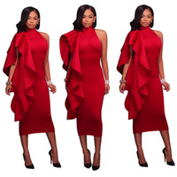 High Neck Side Ruffles Sexy Frauen Party Kleider Straight Mid Bodycon Kleider Hot Red Girls Abendkleider