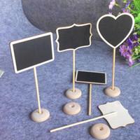 Wholesale Heart Shaped Chalkboard - Rectangle Heart Shaped Wood Mini Vintage Chalkboard Place Card Holder Stand for Dessert Table Wedding Decor ZA5113