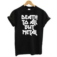 Wholesale Ladies Panther - Wholesale- DEATH TO ALL BUT METAL Steel Panther Slogan Women T shirt Funny Cotton Casual Shirt For Lady Black Top Tee Hipster Yong ZT2-292