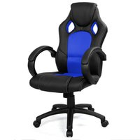 Wholesale Car Racing Chair - High Back Race Car Style Bucket Seat Office Desk Chair Gaming Chair Blue New