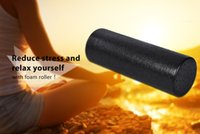 Wholesale physical equipment - EPP Yoga Gym Exercises Fitness Massage Equipment Foam Roller for Muscle Relaxation and Physical Therapy Black 30cm 45cm