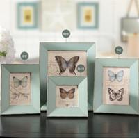 marco de madera azul para cuadros de fotos madera baratos baratos modernos marcos de la pared de la boda collage de la familia moldura para quadros porta