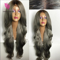 Wholesale Long Gray Wigs For Women - Fashion Ombre Silver Grey Bodywave Lace Front Wig Glueless Long Natural Black Gray Virgin Human Hair Wigs For fasihion Women