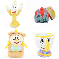 """Wholesale Wholesale House Stuff - New Hot 4Pcs Lot 4""""-7"""" Lumiere Chip Cogsworth House Plush Doll Beauty and The Beast Anime Collectible Dolls Gifts Soft Stuffed Toys"""