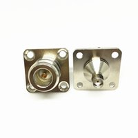 Wholesale Hifi Chassis - 2Pcs\Lot Freeshipping Brass N FemaleJack to SMA Female with 4 Hole Flange Panel Mount Chassis RF Adapter SMA to N Female F F Connector