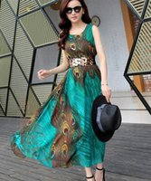 Wholesale Green Irregular Dress Women - Women Lady Girls Casual Fashion Summer Bohemian Irregular Short-sleeved Chiffon Peacock Dress Skirt with Belt 2342